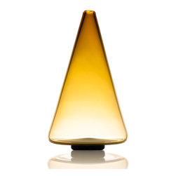 Ombre Glass Series - Amber Gold Cone - From the Ombre Series. Crafted using traditional glass blowing methods. Timeless accent for home or office. Color of glass deepens from base to top of cone, for a look that is elegant and pronounced.
