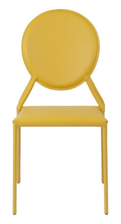 Eurostyle - Isabella Side Chair (Set Of 2)-Yellow - This regal side chair features angled arms in the frame that elegantly support the oval-shaped backrest. You get a hint of royalty, yet it remains accessible to the masses when they visit your home office or living room.