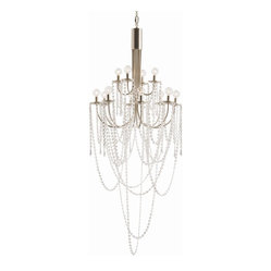 "Arteriors - Mirabelle Chandelier - Every day's a party with this stunning chandelier hanging in your foyer or cathedral-height dining room. Sparkling silver arms positively drip with strings of glass beads that appear to be ""thrown"" there, like you're on Bourbon Street during Mardi Gras or Times Square on New Year's Eve."