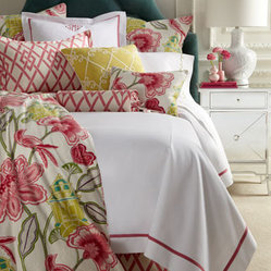"Legacy Home Full White Coverlet with Pink Trim, 84"" x 90"""