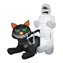 None - Animated Cat Eating Mummy - This outdoor inflatable animated scene features a cat unraveling his nervous mummy pal. It's a funny way to greet your trick-or-treaters and Halloween guests.