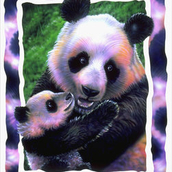 Murals Your Way - Panda Love Wall Art - A mother panda cuddles her precious baby in this wall mural. The portrait is framed with splotches of black and white fur
