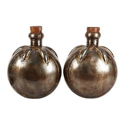 Pre-owned Bulbous Metal Vases - A Pair - These two have that industrial chic look that we love. Metal oversized vases with vintage cork tops. Fill them with ranunculus or use them as a decorative accent on your mantle or bookcase.