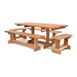 "All Things Cedar - Cedar Picnic Table Outdoor Patio Set (10 person) - A solid Picnic Table and seating for 8.  Our 6'  Heavy Duty table set features solid 2 x 6 cedar construction,  and comes with 2 Heavy Duty detached 70"" side benches + 2 Heavy Duty 30"" end benches. Seats 8 adults comfortably. Item is made to order."