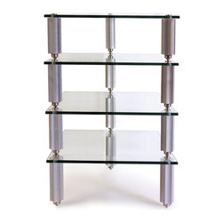 Lovan - Legacy HiFi Audio Rack 4-10in. Silver Star Posts with 4 Clear Glass Shelves - Legacy HiFi Audio Rack 4-10in. Silver Star Posts with 4 Clear Glass Shelves