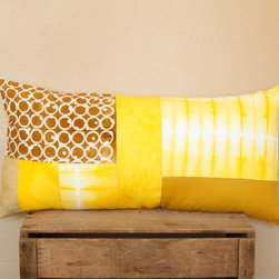 """Signature Shibori Patchwork - Shibori patchwork adorns the front of this 14""""x28"""" lumbar pillow. Cream colored cotton on the back. An envelope closure allows for easy removal of the included polyester pillow insert. Down filling available as an upgrade. Hand wash cold and line dry."""