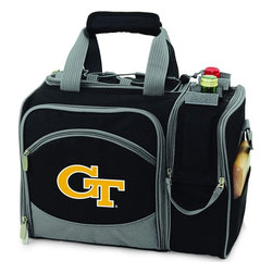 Picnic Time - Georgia Tech Malibu Picnic Pack in Black - Insulated pack with picnic service for 2 made of 600D polyester canvas. The elegant and unique Malibu shoulder pack is perfect for picnics, concerts, or travel. This tote has an integrated wine storage section and a spacious food storage section with removable liner. The adjustable shoulder strap makes it easy to carry. A wonderful gift idea.; College Name: Georgia Tech; Mascot: Yellow Jackets; Decoration: Embroidered; Includes: 2 Wine glasses (acrylic), 2 Napkins (cotton 14 x 14 in.), 1 Corkscrew (waiter style stainless steel), 1 Cutting board (wood 6 x 6 in.), 1 Cheese knife (stainless steel w/wood handle), 2 Plates (melamine 9 in.), 2 Ea. Knives forks & spoons (stainless steel), 2 Napkins (cotton 14 x 14 in.)
