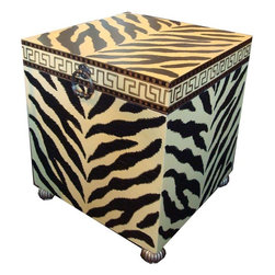Hollywood Glam End Table Trunk - So much character on this pale yellow and black tiger print table! This painted piece can double as storage space; the inside is lined in a plush velvety fabric that is intact and clean. External details include carved gold ball feet and decorative metal pulls.