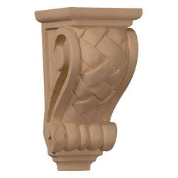 "Ekena Millwork - 3 1/2""W x 4""D x 7""H Small Basket Weave Corbel - 3 1/2""W x 4""D x 7""H Small Basket Weave Corbel. Enjoy the warmth and beauty of carved wood corbels. With the proper installation, these wood brackets can support up to 250lbs, which gives you the flexibility to use a decorative bracket for support. Available in a variety of species, these brackets ship to you fully sanded and ready for your paint or stain."