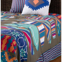 Rizzy Home - Rizzy Home Surfs Up Kids Comforter Bed Set Multicolor - BTLF03FULL/QUEEN - Shop for Bedding Sets from Hayneedle.com! Whoa dude catch a wave all the way to dreamland with the fun and funky look of the Rizzy Home Surfs Up Kids Comforter Bed Set. Your little beach bum is sure to love the bright colors and bold geometric print of this coordinating set. Finish off their room with a look that they won't soon outgrow. Machine washable for easy care it's available in your choice of size.Comforter Dimensions:Twin: 92L x 68W in.Full/Queen: 92L x 96W in.About Rizzy HomeRizwan Ansari and his brother Shamsu come from a family of rug artisans in India. Their design color and production skills have been passed from generation to generation. Known for meticulously crafted handmade wool rugs and quality textiles the Ansari family has built a flourishing home-fashion business from state-of-the-art facilities in India. In 2007 they established a rug-and-textiles distribution center in Calhoun Georgia. With more than 100 000 square feet of warehouse space the U.S. facility allows the company to further build on its reputation for excellence artistry and innovation. Their products include a wide selection of handmade and machine-made rugs as well as designer bed linens duvet sets quilts decorative pillows table linens and more. The family business prides itself on outstanding customer service a variety of price points and an array of designs and weaving techniques.