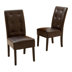 Great Deal Furniture - Haynes Brown Leather Dining Chairs (Set of 2) - The Haynes dining chairs are a perfect set for your dining space. These contemporary chairs are stylish and their neutral color will compliment almost any existing furniture. These chairs will last for years to come, offering comfort, style, and durability. Place them in your dining room, kitchen, or use them as extra seating in your living room, or office.