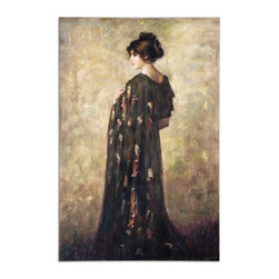 Uttermost - Contemplation Lady Canvas Wall Art - Contemplation is supposed to be good for the soul. Do you wonder what she is thinking? Is she waiting for someone to sweep her away to a different life? Maybe she's just waiting for you to take her home and hang her in your entryway where she will catch your eye every time you go in or out.