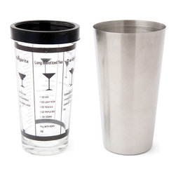 Cuisinox - Cuisinox 15oz Cocktail Shaker - Stylish and functional, the Boston Cocktail Shaker is an essential addition to your bartending wares. Brushed stainless steel and an easy to read glass with five delicious recipes, clearly marked measures and a rubber lip to prevent leakage, makes this shaker an excellent choice for both the novice and experienced bartender. Includes recipes for Margaritas, Dry Martinis, Daiquiris, Cosmopolitans, and Long Island Iced Teas.