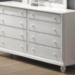 Storage Dresser with Bun Shaped Legs in White Finish - Take an old dresser and turn it into your vanity.