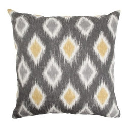 "The Pillow Collection - Faela Diamond Pillow Graphite 18"" x 18"" - This decor pillow is an ideal statement piece in your home. It features a contemporary geometric print and combination of graphite colors, including: grey, white and cream. This square pillow is easy to incorporate with your home furnishings. The plush 18"" pillow is made from 100% cotton. Hidden zipper closure for easy cover removal.  Knife edge finish on all four sides.  Reversible pillow with the same fabric on the back side.  Spot cleaning suggested."