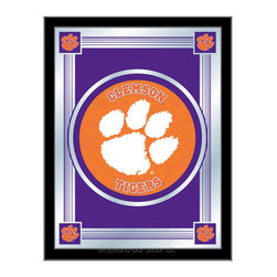 "Holland Bar Stool - Holland Bar Stool Clemson Logo Mirror - Clemson Logo Mirror belongs to College Collection by Holland Bar Stool The perfect way to show your school pride, our logo mirror displays your school's symbols with a style that fits any setting.  With it's simple but elegant design, colors burst through the 1/8"" thick glass and are highlighted by the mirrored accents.  Framed with a black, 1 1/4 wrapped wood frame with saw tooth hangers, this 17""(W) x 22""(H) mirror is ideal for your office, garage, or any room of the house.  Whether purchasing as a gift for a recent grad, sports superfan, or for yourself, you can take satisfaction knowing you're buying a mirror that is proudly Made in the USA by Holland Bar Stool Company, Holland, MI.   Mirror (1)"