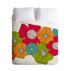 DENY Designs - Valentina Ramos Flowers Queen Duvet Cover - Wake up on the bright side of the bed with this fun duvet cover. A garden of oversize flowers custom-printed in poppy red, tangerine, turquoise and lime bloom against a neutral background of soft woven polyester. Pop in your favorite duvet, zip up the edge and rest easy.