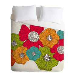 Valentina Ramos Flowers Queen Duvet Cover - Wake up on the bright side of the bed with this fun duvet cover. A garden of oversize flowers custom-printed in poppy red, tangerine, turquoise and lime bloom against a neutral background of soft woven polyester. Pop in your favorite duvet, zip up the edge and rest easy.