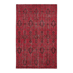 Kaleen - Contemporary Restoration 4'x6' Rectangle Red Area Rug - The Restoration area rug Collection offers an affordable assortment of Contemporary stylings. Restoration features a blend of natural Red color. Hand Knotted of 100% Wool the Restoration Collection is an intriguing compliment to any decor.