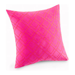 Josie by Natori - Josie By Natori Decoiserie Euro Sham - The Josie by Natori Decoiserie Euro Sham features orange geometric embroidery on a magenta ground. Adds the perfect splash of color to your bedroom. Face: 100% cotton velvet Reverse: 100% cotton canvas