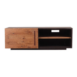 """Moe's Home Collection - Mountain Teak 47.2"""" TV Stand - Features: -Mountain Teak collection. -Color: Natural. -Solid teak and plywood with teak veneer construction. -Comes with a sliding panel. -1 Year warranty. Dimensions: -15.4"""" H x 47.2"""" W x 16.5"""" D, 33.1 lbs."""