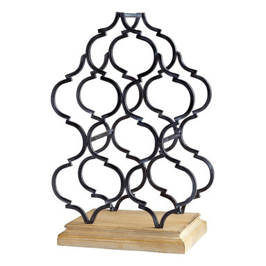 Cyan Design - Cyan Design Marrakech Tower Wine Rack X-26160 - Able to accommodate up to six bottles of wine, this Cyan Design wine rack is aesthetically pleasing and fully functional. Filigree-like patterning lends a subtle, trendy edge to this tower wine rack, with Oak and Ebony finishing over the wood and iron construction.