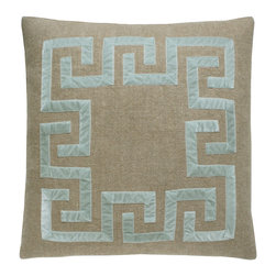 Thin Broken Key Pillow - Natural/Ice - Like a square celestial sunburst rendered in angular geometry, the appliqued patterns of the Thin Broken Key Pillow invite the eye to travel around a harmonious motif. Dark natural linen provides a canvas for the slightly puckered blue ribbon applied in right-angled shapes inspired by and simplifying the spirals of the most recognizable Greek key design. It results in a faintly tribal look that elegantly energizes your traditional or transitional space.