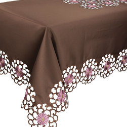 Xia Home Fashions - Daisy Splendor Tablecloth, 70-Inch By 108-Inch, Copper - Exquisite cutwork and hand rendered daisy embroidery provide simple elegance for your home. Easy care Polyviscose.
