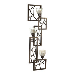 """Uttermost Iron Branches Wall Sconce - Dark bronze metal with light green luster glass candle cups. 2""""x2"""" white candles included. This decorative wall sconce features dark bronze metal with light green luster glass candle cups. White candles included."""