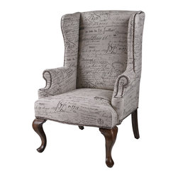 Sterling Industries - Marianne Wing Chair - This wing chair gives one the feeling of owning a well-loved heirloom. Fabric is a linen cotton blend displaying antique French script. Warm mahogany queen ann legs. Throw into a contemporary or transitional room to add warmth and coziness.