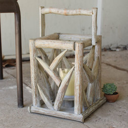 Rustic Carved Antler Lantern - Imbue an earthy vibe with a wooden lantern that's fit for indoors or out. With carved antlers at its sides, it has just the right amount of outdoorsy spirit. We love one of these placed in our master bath.
