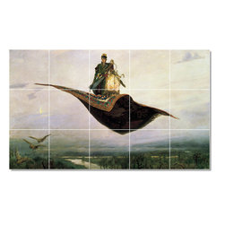 Picture-Tiles, LLC - Flying Carpet Tile Mural By Viktor Vasnetsov - * MURAL SIZE: 18x30 inch tile mural using (15) 6x6 ceramic tiles-satin finish.