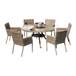 Zuri Furniture - Greywash Rattan Allegra Outdoor Dining Set With Grey Cushions - Enjoying a good meal around the Allegra Outdoor Dining Table is sure to be a good thing. The 3-legged aluminum frame features a lower second level, while leaving plenty of legroom under the table. The matching dining chairs in a greywash finish are compact, yet comfortable, with a slim design.