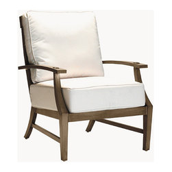 "Frontgate - Croquet Outdoor Lounge Chair with Cushions - French Linen, Mahogany or Weathered finishes offer the appearance of fine wood. Generously proportioned durable aluminum frame accommodates plush outdoor cushions. Included Dream cushion's high density foam fill is crowned with a ""pillowtop"" of blown fiber. Cushions feature exclusive solution-dyed fabrics, created using only the finest materials and technology for longevity outdoors, including Sunbrella&reg. Slatted aluminum seat back. The Croquet Lounge Chair by Summer Classics&reg is the perfect embodiment of the lawn game made popular by 19th century European gentry. Frame is hand-welded in durable aluminum and finished to resemble fine wood. Luxurious Dream cushions enhance the experience of relaxing in this generously proportioned, all-weather furniture. Part of the Croquet Collection by Summer Classics&reg. . . . . Note: Due to the custom-made nature of the cushions, any fabric changes or cancellations made to the Croquet Collection must be made within 24 hours of ordering."