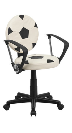 Flash Furniture - Soccer Task Chair with Arms - Bring your favorite sport to the desk with this Soccer Inspired Office Chair that is perfect for all young soccer fans! The round seat and back resembles two soccer balls that are upholstered in vinyl material for easy cleaning. With an affordable price tag it is sure to please the young soccer fan in your home.