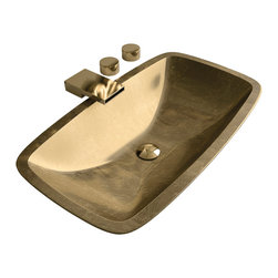 Maestrobath - Pert Open High End Bathroom Sink, Gold Leaf - With its rectangular shape slightly curved along the length and width, smooth edges and a shallow but open interior, this Italian vessel sink is masterfully created to possess a low profile for your modern counter top design. The fancy bathroom sink is available in gold, silver and copper shades to fit in your space elegantly and seamlessly. The special polymer used to create this beautiful bathroom sink, PERT, is very light weight and durable.