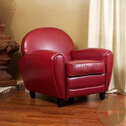 Christopher Knight Home - Christopher Knight Home Oversized Ruby Red Leather Club Chair - This comfortable oversized red leather chair makes an audacious statement in your home. Enjoy this curvy leather chair made from soft bonded leather. This chair is sure to add new life and character in your favorite room, becoming the new focal point.
