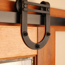 Real Sliding Hardware - Horseshoe Barn Door Hardware Kit - Real Sliding Hardware's Horseshoe barn door hardware features horseshoe shaped hangers for heavy duty capacity.  This equestrian sliding hardware is available in unfinished steel, as well as a variety of durable, powder-coated finishes including black and oil-rubbed bronze. Kit includes everything needed to hang one door. For biparting doors, simply choose the appropriate kit size for each door and order quantity two.