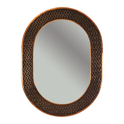 "Premier Copper Products - Premier Copper Products MFO3526-BR 35"" Oval Copper Mirror w/ Braid Design - Uncompromising quality, beauty, and functionality make up this Hand Hammered Copper Oval Mirror Frame.  Our hand made copper mirrors complement a wide variety of styles and colors."