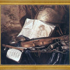 "Pieter De Ring-16""x20"" Framed Canvas - 16"" x 20"" Pieter De Ring Still-Life of Musical Instruments framed premium canvas print reproduced to meet museum quality standards. Our museum quality canvas prints are produced using high-precision print technology for a more accurate reproduction printed on high quality canvas with fade-resistant, archival inks. Our progressive business model allows us to offer works of art to you at the best wholesale pricing, significantly less than art gallery prices, affordable to all. This artwork is hand stretched onto wooden stretcher bars, then mounted into our 3"" wide gold finish frame with black panel by one of our expert framers. Our framed canvas print comes with hardware, ready to hang on your wall.  We present a comprehensive collection of exceptional canvas art reproductions by Pieter De Ring."