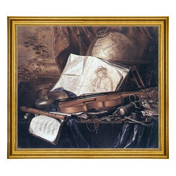 """Pieter De Ring-16""""x20"""" Framed Canvas - 16"""" x 20"""" Pieter De Ring Still-Life of Musical Instruments framed premium canvas print reproduced to meet museum quality standards. Our museum quality canvas prints are produced using high-precision print technology for a more accurate reproduction printed on high quality canvas with fade-resistant, archival inks. Our progressive business model allows us to offer works of art to you at the best wholesale pricing, significantly less than art gallery prices, affordable to all. This artwork is hand stretched onto wooden stretcher bars, then mounted into our 3"""" wide gold finish frame with black panel by one of our expert framers. Our framed canvas print comes with hardware, ready to hang on your wall.  We present a comprehensive collection of exceptional canvas art reproductions by Pieter De Ring."""