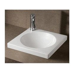 Whitehaus - Isabella Square Drop-In Sink in White - Includes mounting hardware. Faucet not included. Integrated round bowl. Single faucet hole and center drain. Pre-drilled basin for single hole faucet only. Made from porcelain. Inside: 14.5 in. Dia. x 5 in. H. Overall: 18 in. W x 18 in. D x 6.75 in. H (20 lbs.). Warranty