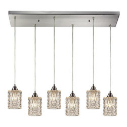 Elk Lighting - Kersey Satin Nickel Six Light Chandelier - - The Kersey collection has thick crystal glass with textured patterns that brilliantly refract light Elk Lighting - 10343/6RC