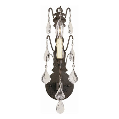 World Imports - Timeless Elegance 1 Light Sconce w Crystals i - Manufacturer SKU: WI960189. Bulbs not included. Generously proportioned, 60 in. diameter. Add elegance and sophistication to any room. Fire-molded crystals have been hand-polished. Bronze Finish. Delivered internally wired and dressed with crystals. Timeless Elegance Collection. 1 Light. Power: 60w. Type of bulb: Candelabra. Bronze finish. 7 in. Ext.. Back Plate 5.25 in. D x 18 in. H. 5.25 in. D x 18 in. H (2.9 lbs.)