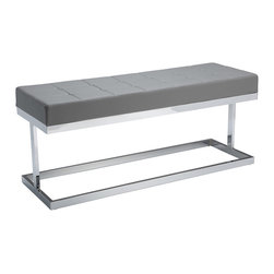 Sunpan - Sunpan Viceroy Grey Faux Leather Upholstered Bench - The Viceroy bench from Sunpan showcases a sleek contemporary frame of polished steel plushly padded with a grey faux leather wrapped cushion. Suitable for entryways,living rooms or as extra dining seating,this bench is sure to impress.