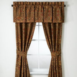 Croscill - Croscill Yosemite Window Panel Pair with Tiebacks - A southwestern design in olive, rust and tan covers these Yosemite window panels and valance. The designs create a warm and comfortable atmosphere and coordinate with the Yosemite comforter and sheet sets by Croscill.