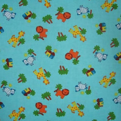 "SheetWorld - SheetWorld Fitted Pack N Play (Graco) Sheet - Safari Animals Aqua - Made in USA - This 100% cotton ""flannel"" pack n play (graco) sheet is made of the highest quality fabric that's double napped. That means these sheets are the softest and most durable. Sheets are made with deep pockets and are elasticized around the entire edge which prevents it from slipping off the mattress, thereby keeping your baby safe. These sheets are so durable that they will last all through your baby's growing years. We're called sheetworld because we produce the highest grade sheets on the market today. Features the cutest safari animals. Size: 27 x 39. Not a Graco product. Sheet is sized to fit the Graco playard. Graco is a registered trademark of Graco."