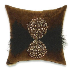"""Canaan - Natural Feathers and Passion Suede Chocolate 16"""" x 16"""" Throw Pillow - Natural feathers and passion suede chocolate 16"""" x 16"""" throw pillow with feathers and medallion. Measures 16"""" x 16"""" made with a blown in foam. These are custom made in the U.S.A and take 4-6 weeks lead time for production."""