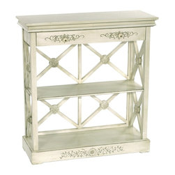 Sterling Industries - Sterling Industries St. Thomas Bookshelf X-2394-98 - Cross lattice-style sides and backing help add support and interest to this Sterling Industries bookshelf. From the St. Thomas Collection, the latticework features floral medallions at each point, which compliments the floral elements on the face of the drawer and base. Aged cream adds a vintage shabby chic appeal.
