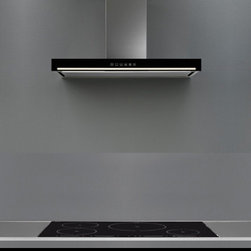 """""""Edge Black"""" Wall Range Hood by Futuro Futuro - The """"Edge Black"""" wall-mount range hood by Futuro Futuro features a classic rectangular shape with a black glass front, and a subtle """"lightstrip"""" illumination effect. Visit website for current prices, stock status, complete product information, and multiple photos!"""